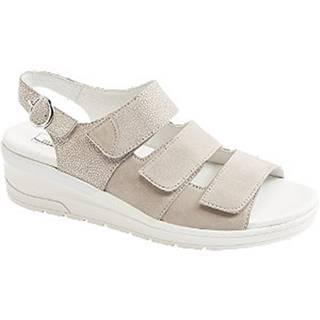 Sivo-béžové kožené komfortné sandále Medicus