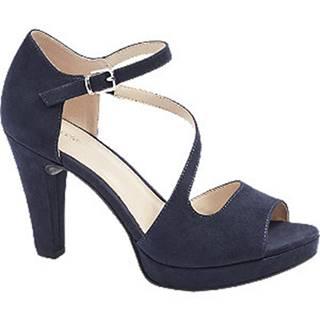 Tmavomodré sandále na podpätku Graceland