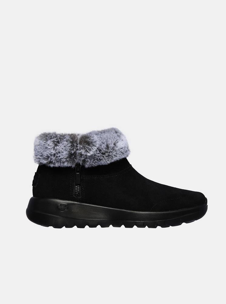 Skechers Čierne dámske členkové zimné topánky Skechers