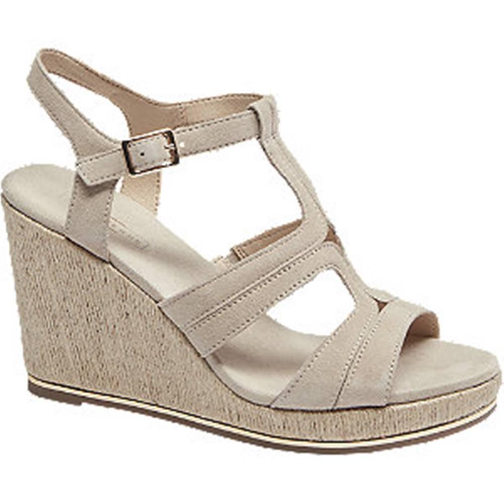 5th Avenue Béžové kožené sandále na klinovom podpätku