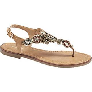 Béžovo-oranžové sandále