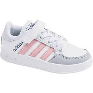Bielo-sivé tenisky na suchý zips Adidas Breaknet C