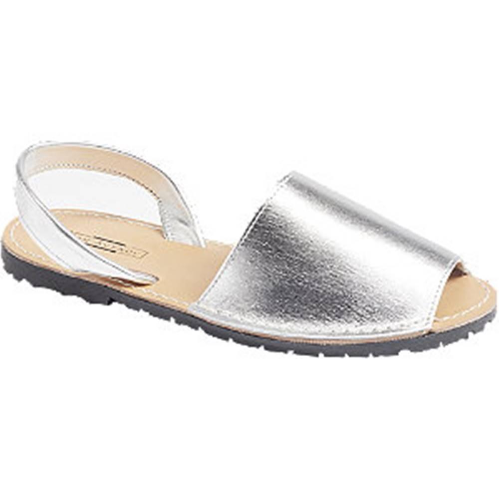 5th Avenue Strieborné kožené sandále
