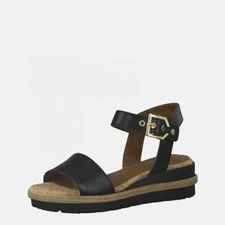 Čierne kožené sandále na platforme