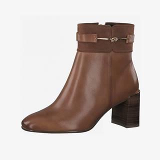 Hnedé kožené členkové topánky
