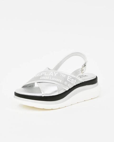 Strieborné sandále Replay