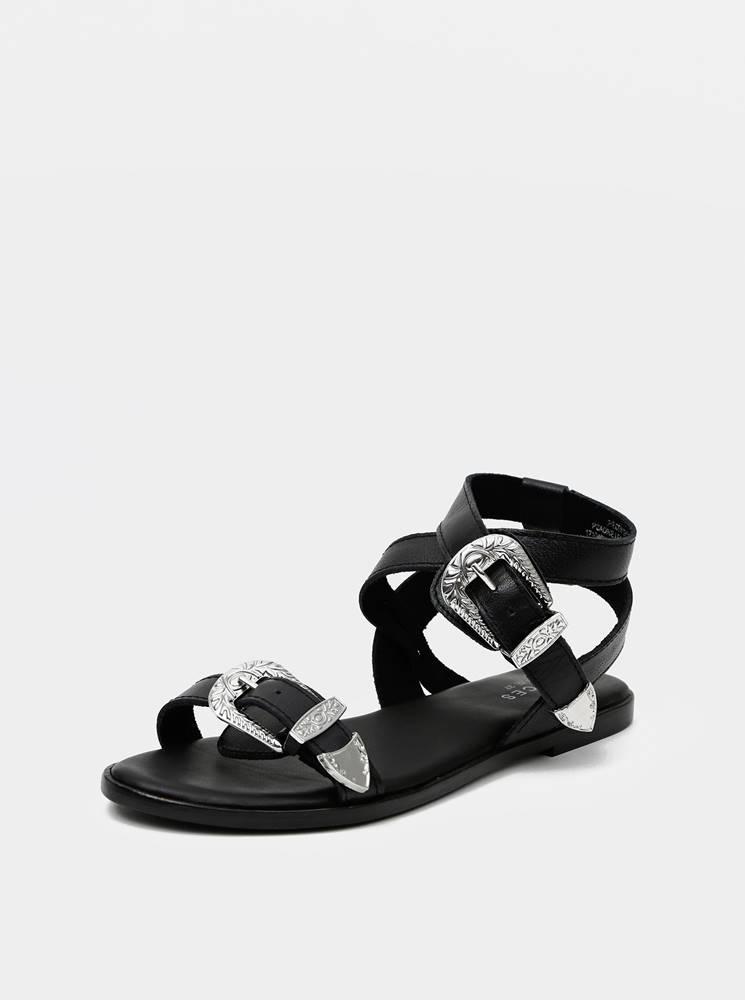 Pieces Čierne kožené sandále  Adine