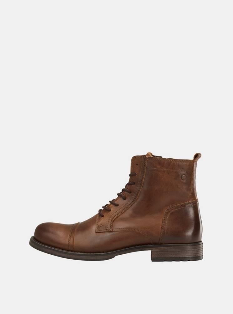Jack & Jones Hnedé pánske kožené členkové topánky Jack & Jones Russel