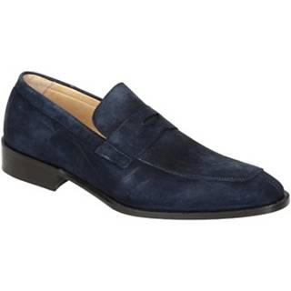 Mokasíny Leonardo Shoes  PINA 8 CAMOSCIO BLU