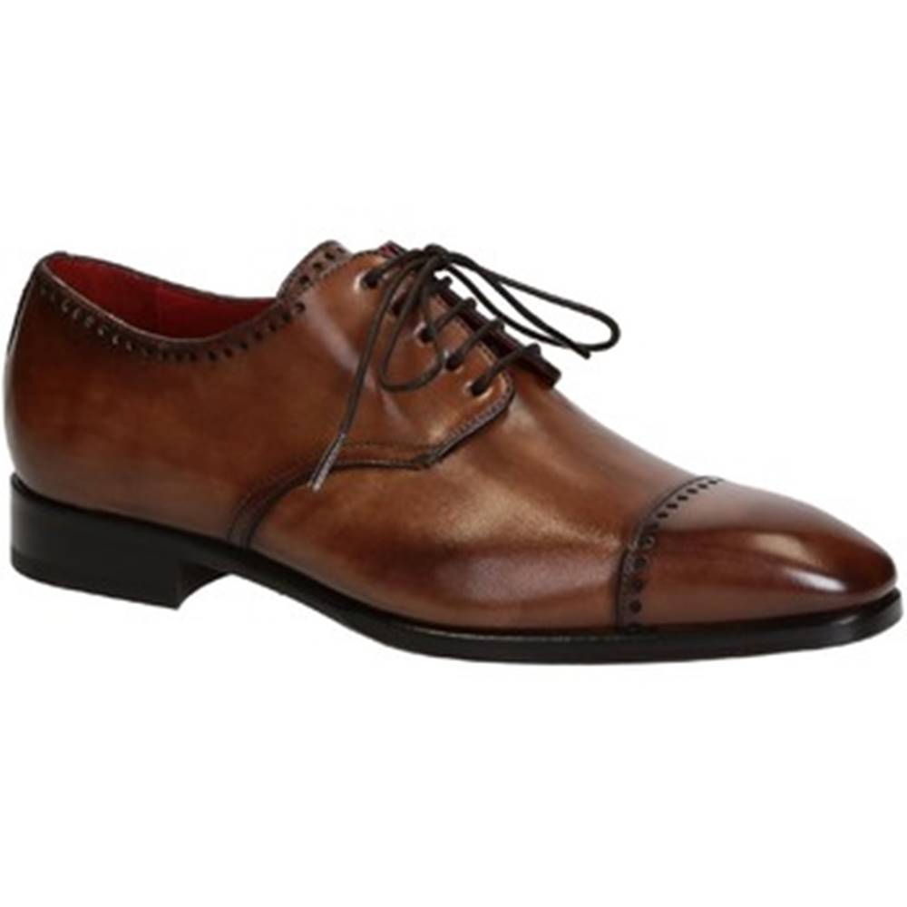 Leonardo Shoes Derbie Leonardo Shoes  06437 VITELLO DELAVE BRANDY