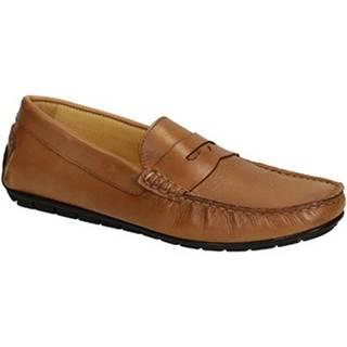 Mokasíny Leonardo Shoes  503 VITELLO CUOIO FAUSTO