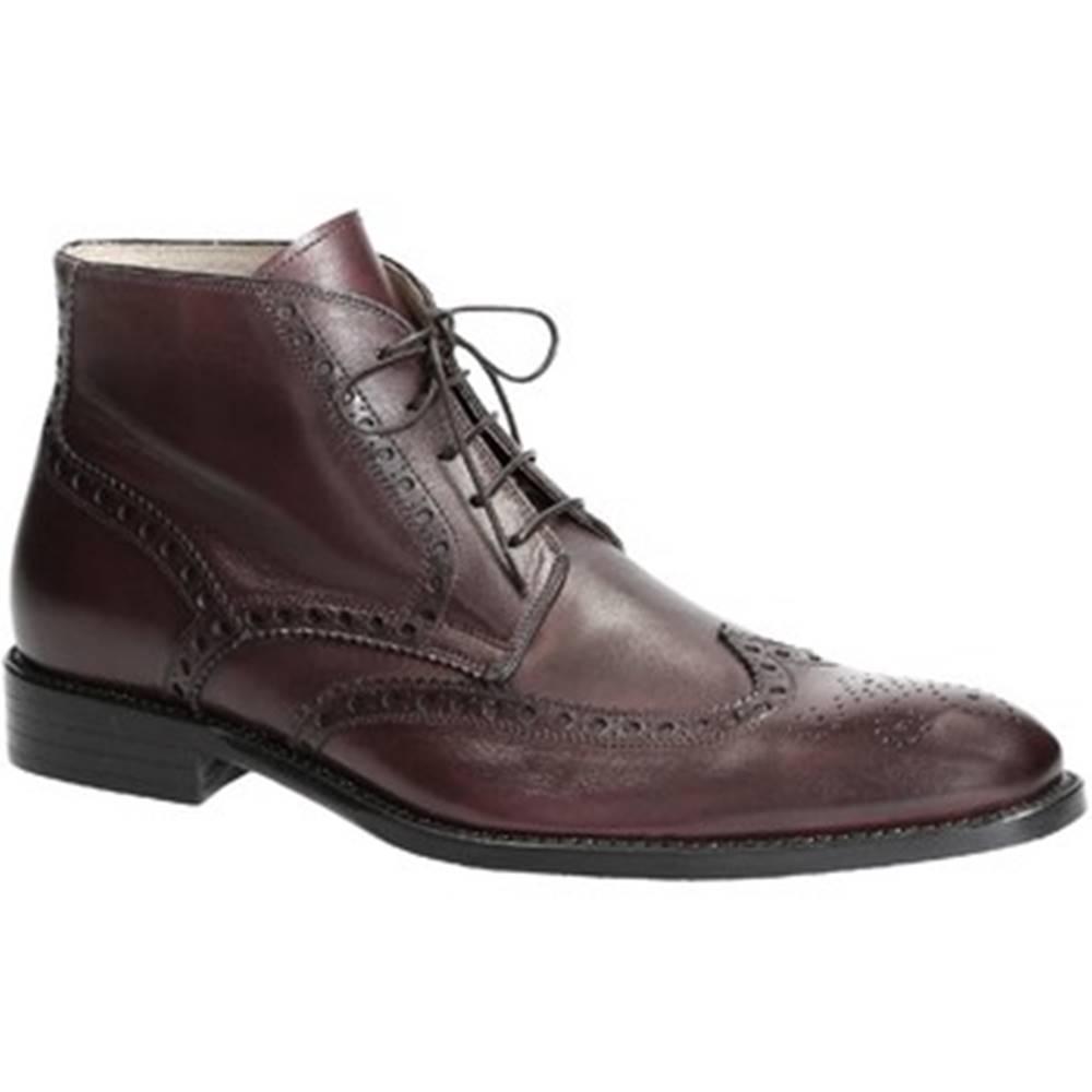 Leonardo Shoes Polokozačky Leonardo Shoes  PINA 107 VITELLO MARRONE