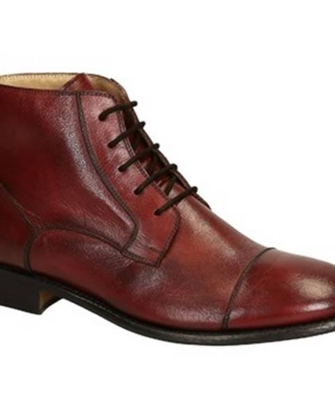 Červené polokozačky Leonardo Shoes