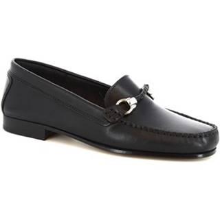 Mokasíny Leonardo Shoes  174 INVECCHIATO ART. DASY SPESSORE 1,4/1,6 NERO