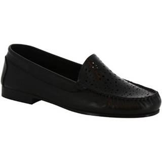 Mokasíny Leonardo Shoes  5026 VITELLO NERO