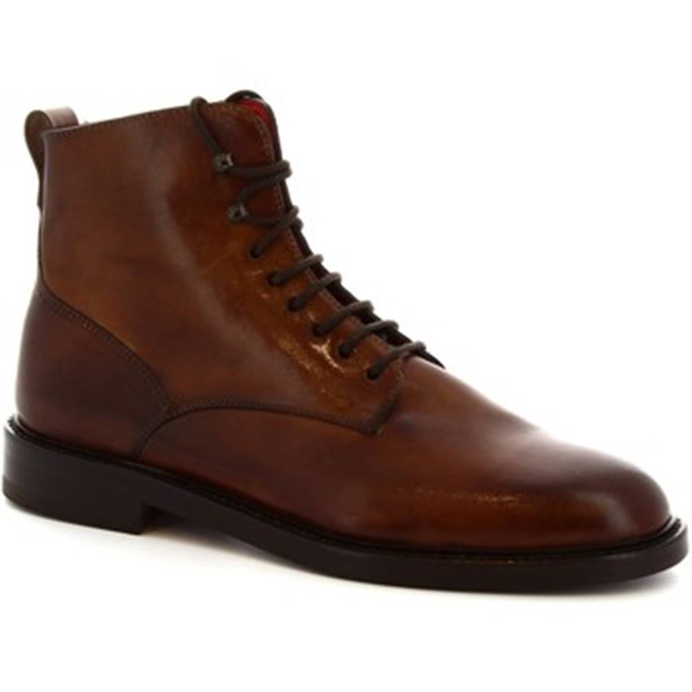 Leonardo Shoes Čižmy do mesta  8030I18 TOM VITELLO DELAVE BRANDY