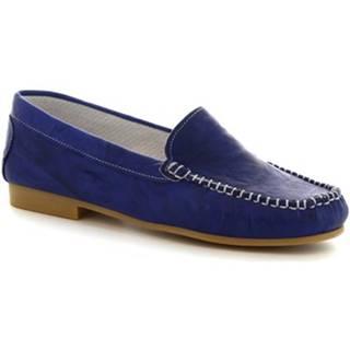 Mokasíny Leonardo Shoes  318  STROPICCIATO COBALTO FONDO GOMMA
