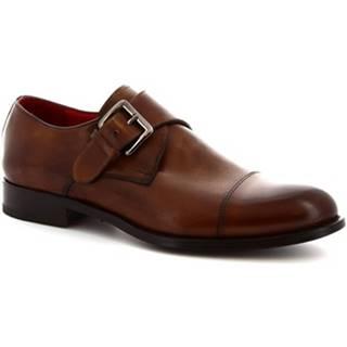 Mokasíny Leonardo Shoes  8611E19 TOM VITELLO DELAVé BRANDY