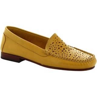 Balerínky/Babies Leonardo Shoes  5026 VITELLO GIALLO