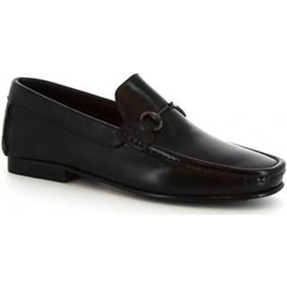 Mokasíny Leonardo Shoes  406  V. NERO