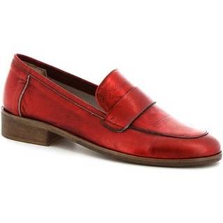 Mokasíny Leonardo Shoes  4616 ROSSO