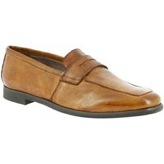 Mokasíny Leonardo Shoes  187/3 PAPUA BEIGE CUOIO