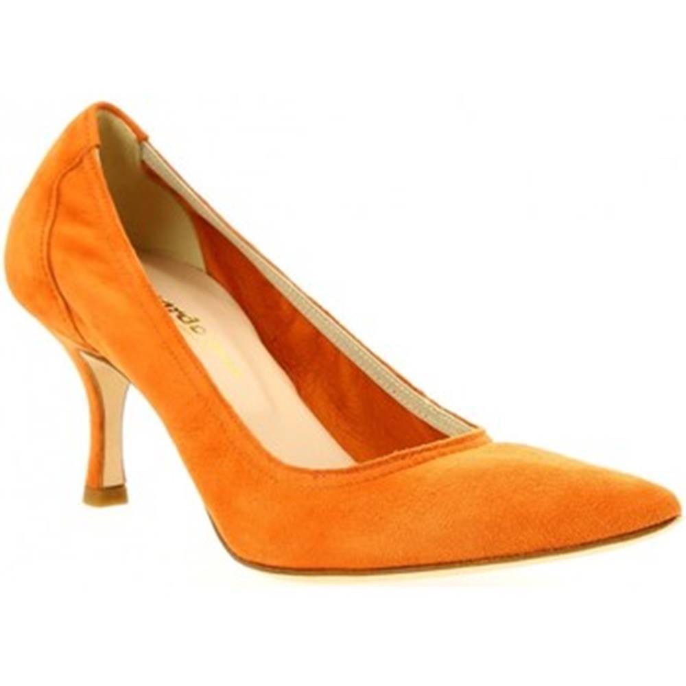 Leonardo Shoes Lodičky Leonardo Shoes  SANDY CAMOSCIO ARANCIO