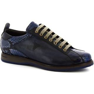 Derbie Leonardo Shoes  9211/19 PITONE DENIM (BLU-NERO)