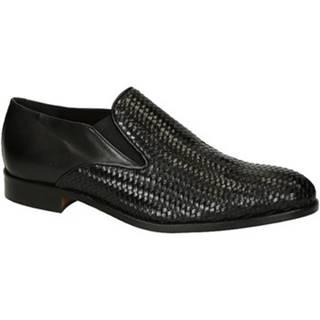 Mokasíny Leonardo Shoes  07669 FORMA 40 METISSE 2 NERO