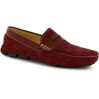 Mokasíny Leonardo Shoes  504 NIAGARA CRUST BORDEAUX