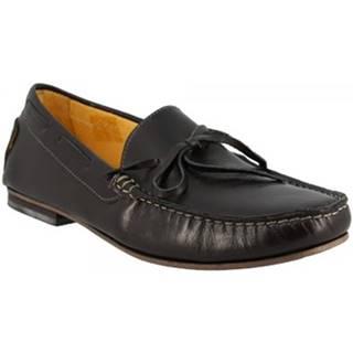 Mokasíny Leonardo Shoes  502 VITELLO NERO