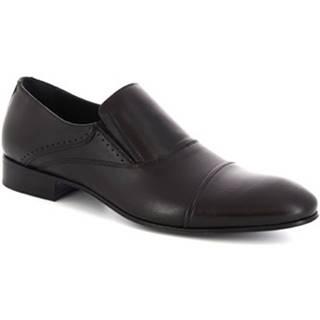 Mokasíny Leonardo Shoes  34530-E F. 345 CUOIO FILETTO NERO