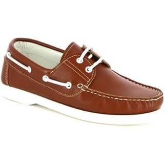 Námornícke mokasíny Leonardo Shoes  C04 INGRASSATO CUOIO