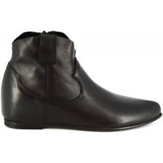 Polokozačky Leonardo Shoes  RPT86 SAVAGE NERO