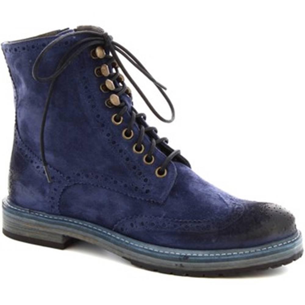 Leonardo Shoes Polokozačky Leonardo Shoes  4730 BLUE