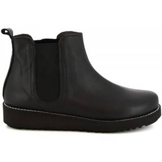 Polokozačky Leonardo Shoes  4526  INGRASSATO NERO