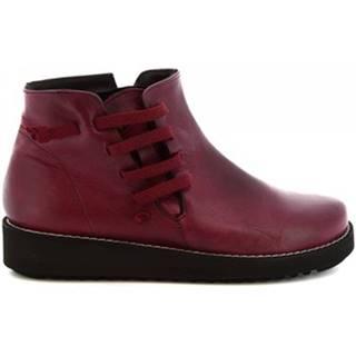 Polokozačky Leonardo Shoes  4527 INGRASSATO BORDEAUX