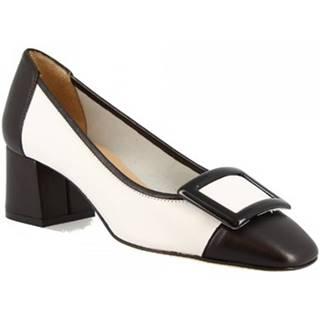 Lodičky Leonardo Shoes  1331 NAPPA NERA/BIANCA