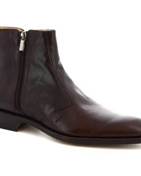 Hnedé polokozačky Leonardo Shoes