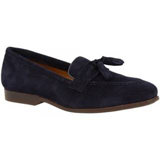 Mokasíny Leonardo Shoes  TOR02 VELUR NAVY