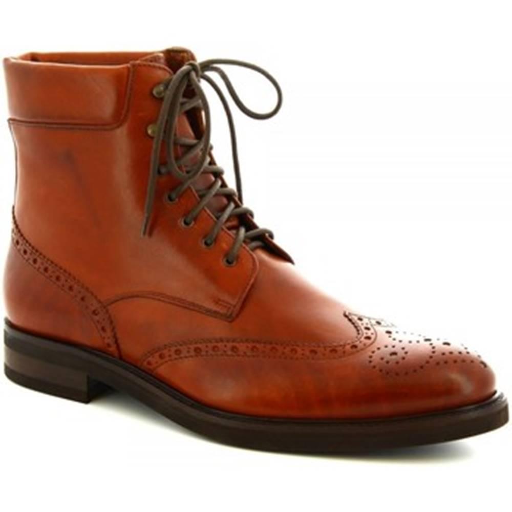 Leonardo Shoes Polokozačky Leonardo Shoes  07331/FORMA 40 FULL MARRONE