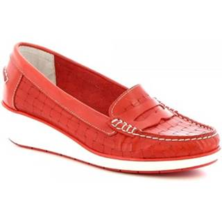 Mokasíny Leonardo Shoes  5023 VITELLO ROSSO