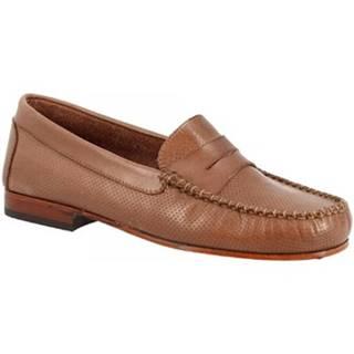 Mokasíny Leonardo Shoes  2591 CRUST CAPPUCCINO