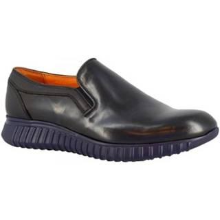 Mokasíny Leonardo Shoes  152-69 PE ABBRASIVA BLU