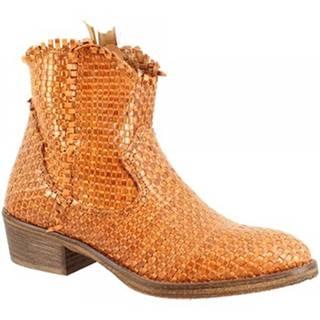 Polokozačky Leonardo Shoes  CP833B INTRECCIO CUOIO