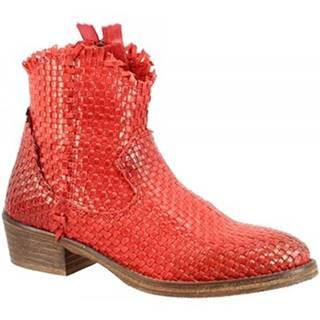 Polokozačky Leonardo Shoes  CP833B INTRECCIO ROSSO