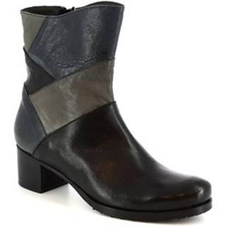 Polokozačky Leonardo Shoes  622 NERO BLEU ASFALTO