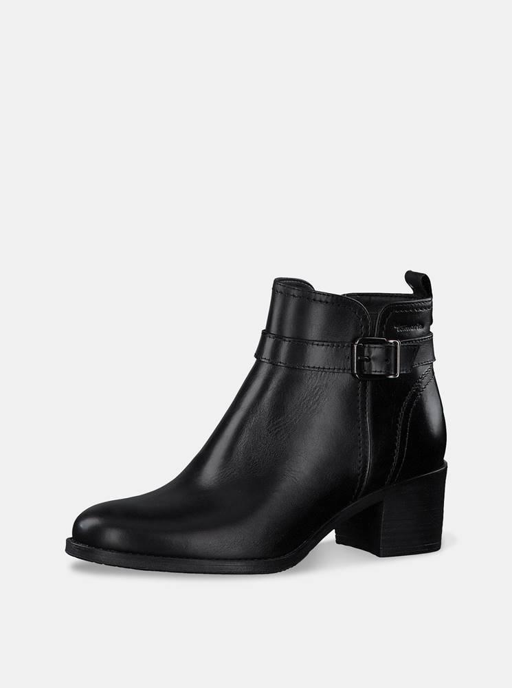 Tamaris Čierne dámske kožené členkové topánky Tamaris