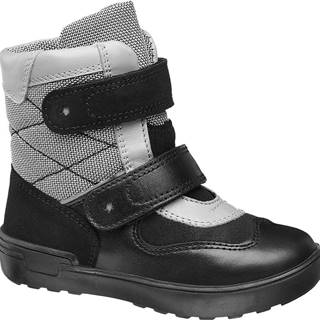 Bartek - Čierna kožená zimná obuv na suchý zips Bartek