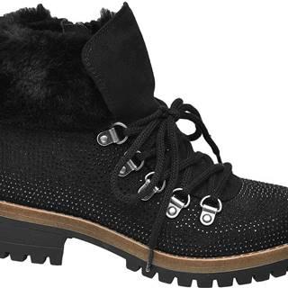Čierna členková obuv na zips Graceland